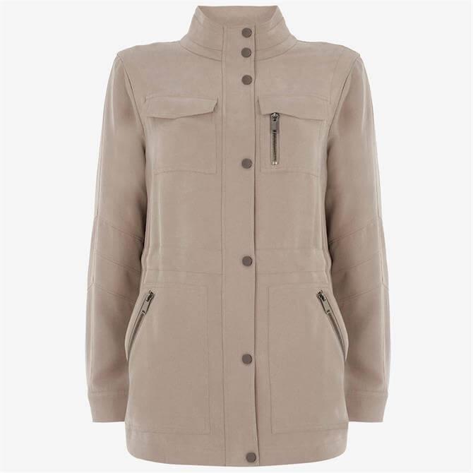 Mint Velvet Beige Zipped Utility Jacket