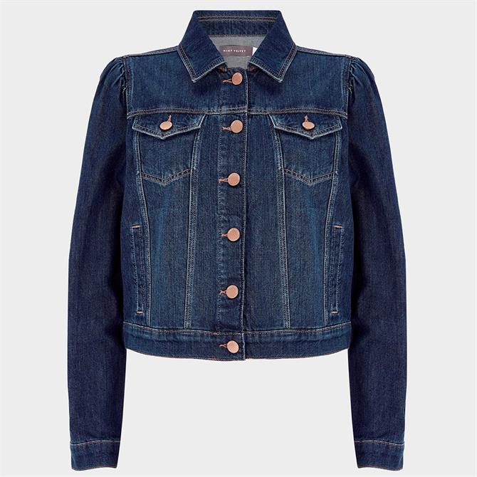 Mint Velvet Blue Puff Sleeve Denim Jacket