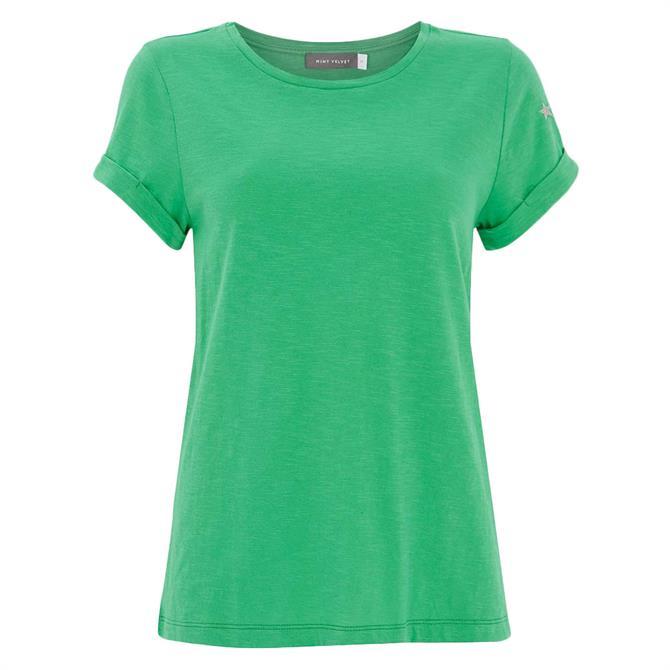 Mint Velvet Green Cotton Star T-Shirt