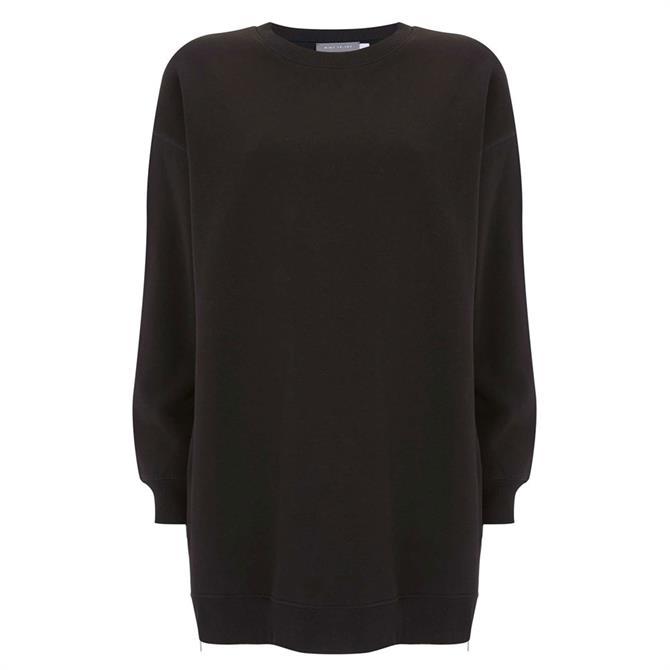 Mint Velvet Black Long Zip Sweatshirt