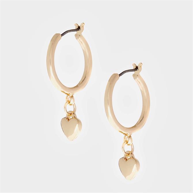 Mint Velvet Gold Tone Heart Hoop Earrings
