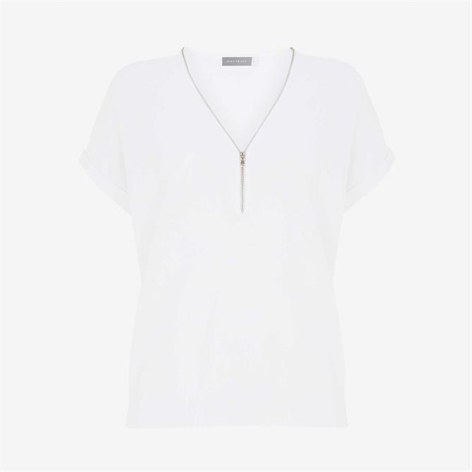 Mint Velvet White Zip Batwing Knitted Top