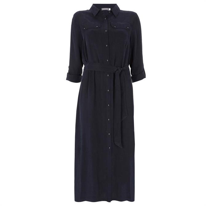 Mint Velvet Navy Belted Midi Shirt Dress