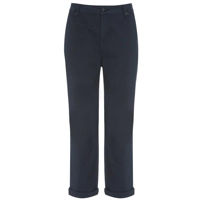 Mint Velvet Navy Button Detail Chino Trousers