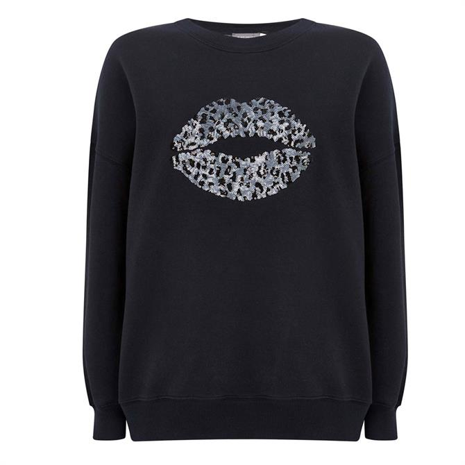 Mint Velvet Navy Leopard Lips Sweatshirt