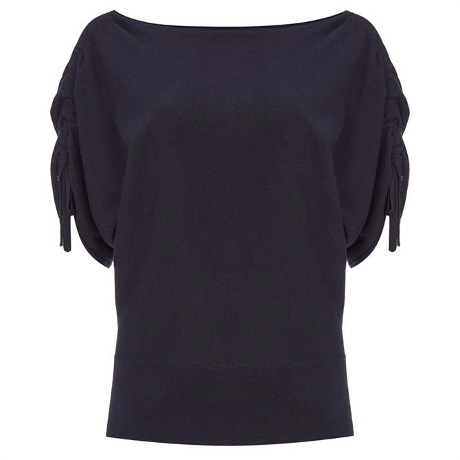 Mint Velvet Navy Ruched Knitted Top