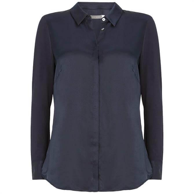Mint Velvet Navy Silk Front Shirt