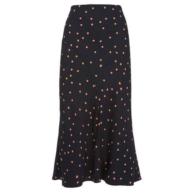 Mint Velvet Navy Spot Satin Slip Skirt