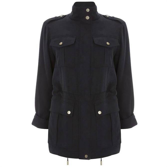 Mint Velvet Navy Star Back Utility Jacket