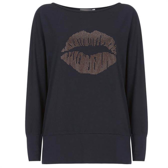 Mint Velvet Navy Studded Lips Batwing Top