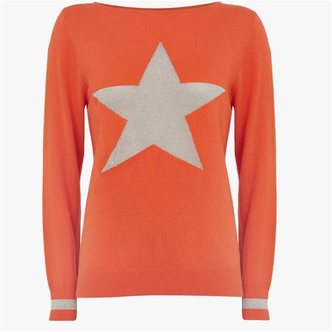 Mint Velvet Orange Metallic Star Jumper