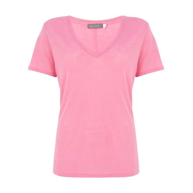 Mint Velvet Pink Linen V-Neck T-Shirt