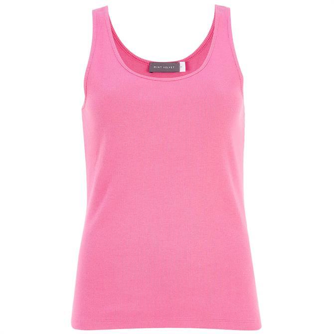 Mint Velvet Pink Scoop Neck Rib Vest Top
