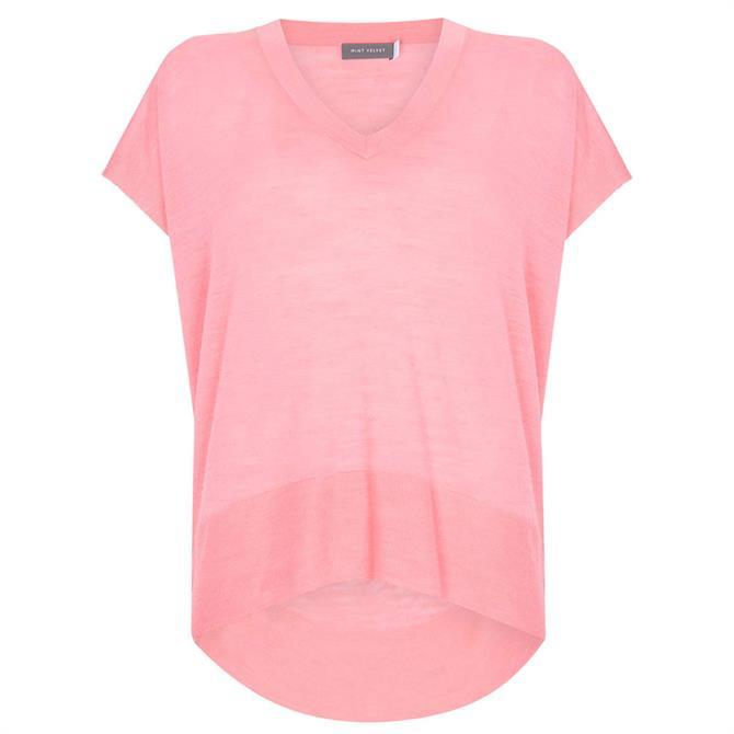 Mint Velvet Pink V Neck Knitted Top