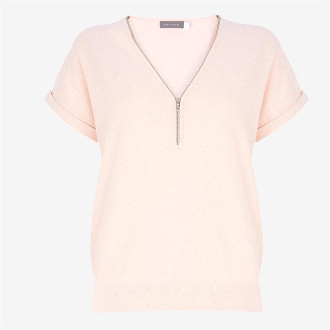Mint Velvet Pale Pink Zip Batwing Knit Top