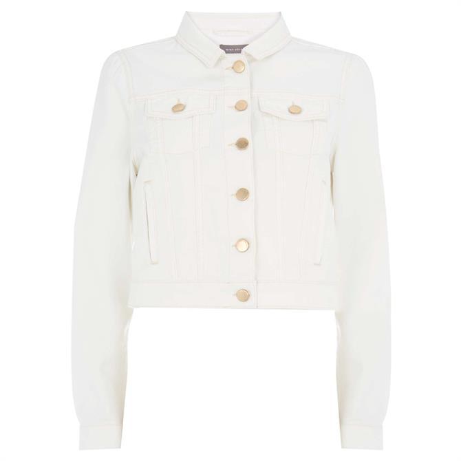 Mint Velvet White Puff Sleeve Denim Jacket