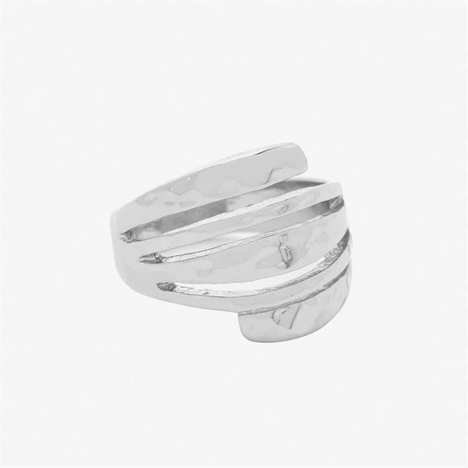 Mint Velvet Silver Hammered Stacked Ring