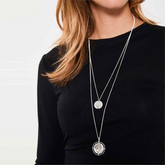 Mint Velvet Silver Layer Disc Necklace