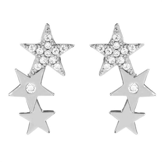 Mint Velvet Silver Star Climber Earrings