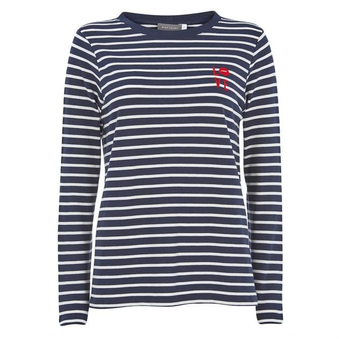 Mint Velvet Navy Striped Long Sleeved Top