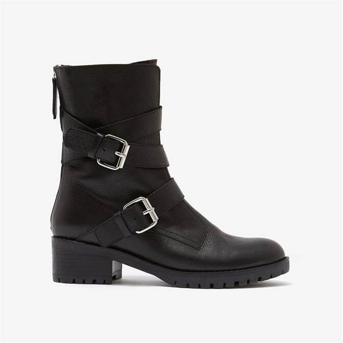 Mint Velvet Tammy Black Leather Biker Boot