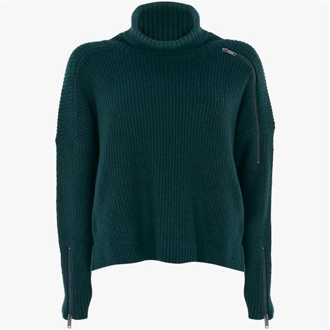 Mint Velvet Teal Green Funnel Neck Jumper