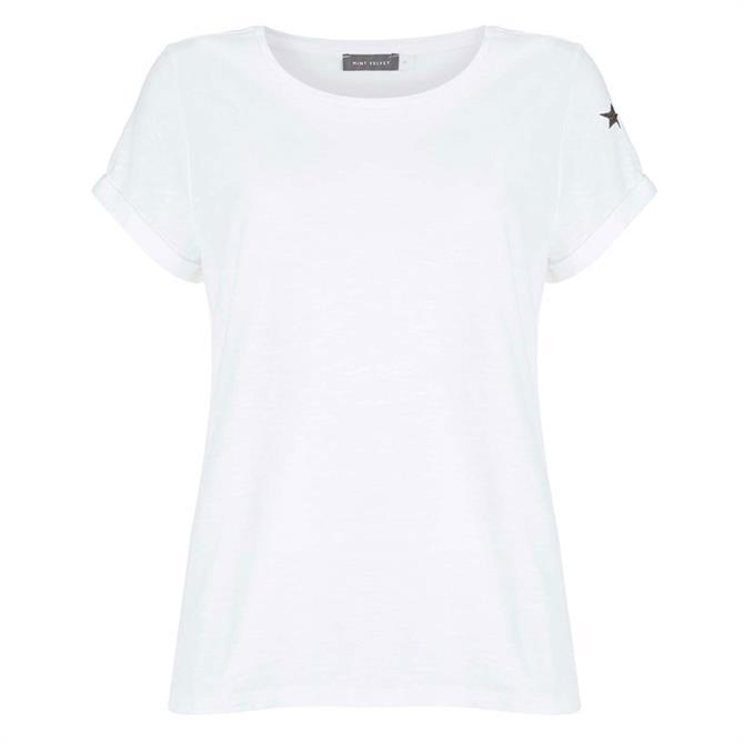 Mint Velvet White Cotton Star T-Shirt