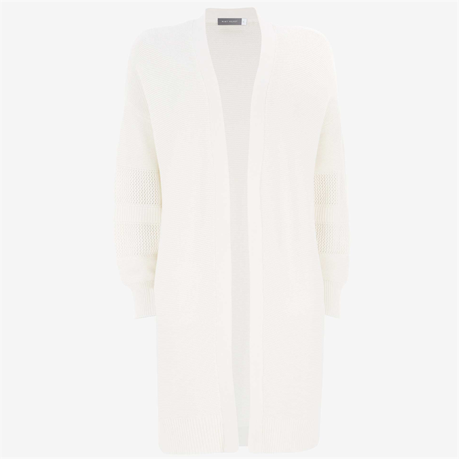Mint Velvet White Long Textured Cardigan