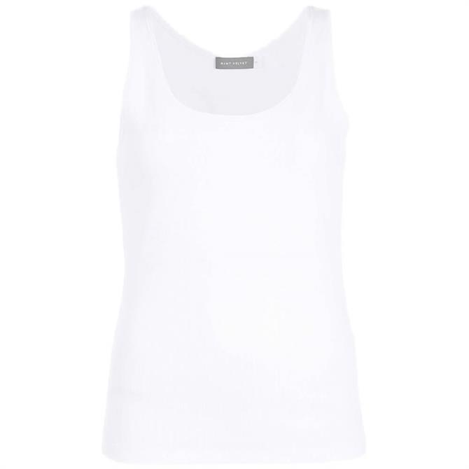 Mint Velvet White Scoop Neck Rib Vest Top