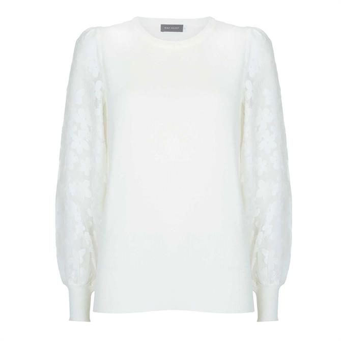 Mint Velvet White Woven Puff Sleeve Jumper