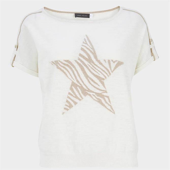 Mint Velvet White Zebra Star Knitted Top