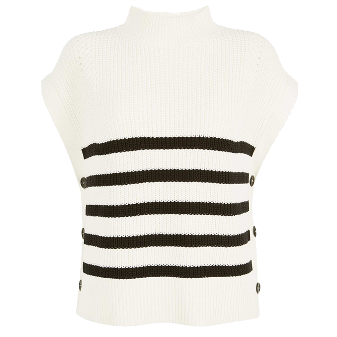 Mint Velvet Off-White Striped Knitted Vest