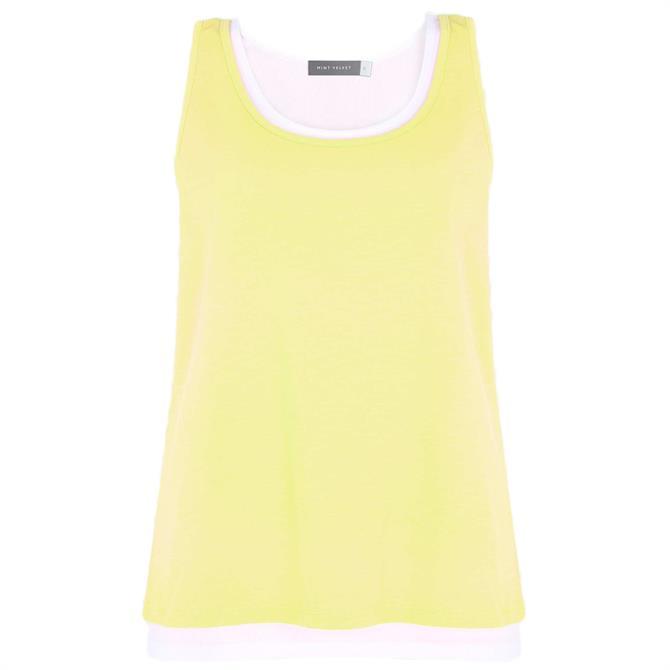 Mint Velvet Yellow Layered Cotton Vest