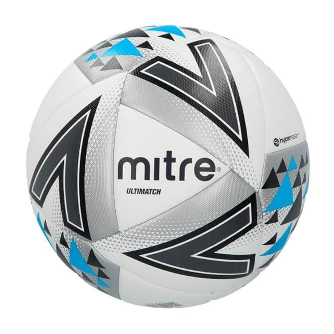 Mitre Ultimatch Football - White/Silver/Blue
