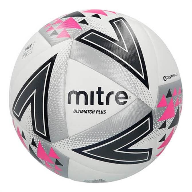 Mitre Ultimatch Plus Football - White/Silver/Pink