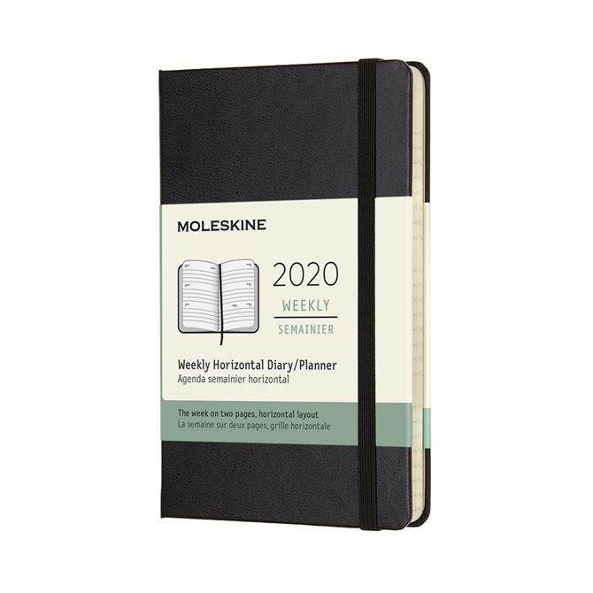 Moleskine Week to View Hardcover Pocket Horizontal Diary 2020 - Black