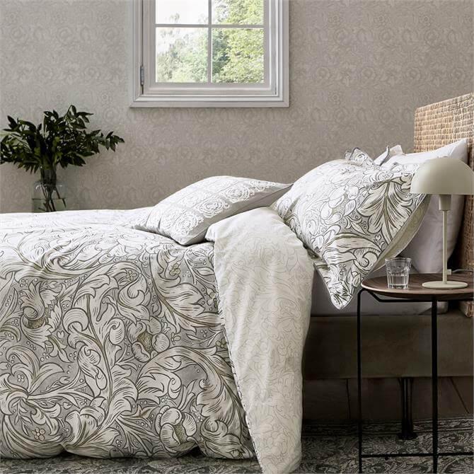 Morris & Co Pure Bachelors Button Stone & Linen Duvet Cover