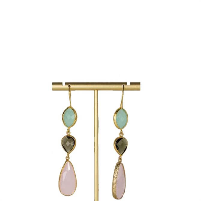 My Doris Aqua, Labradorite and Rose Triple Drop Earrings