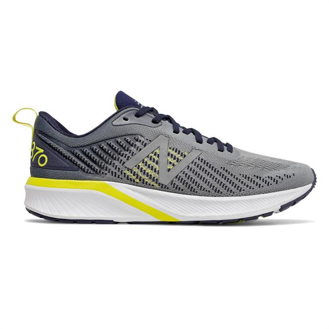 New Balance Men's 870v5 Running Shoe - Gunmetal/Sulphur Yellow