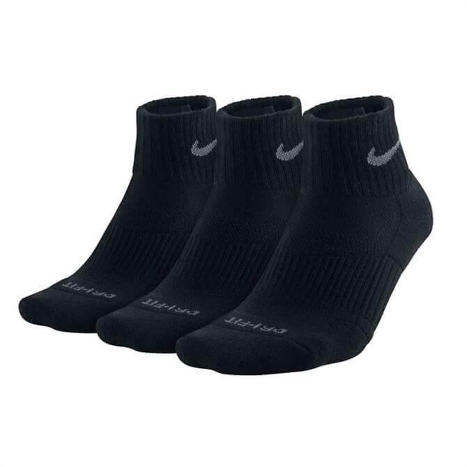 Nike 3-Pair Pack DriFit Half Cushioned Quarter Socks - Black