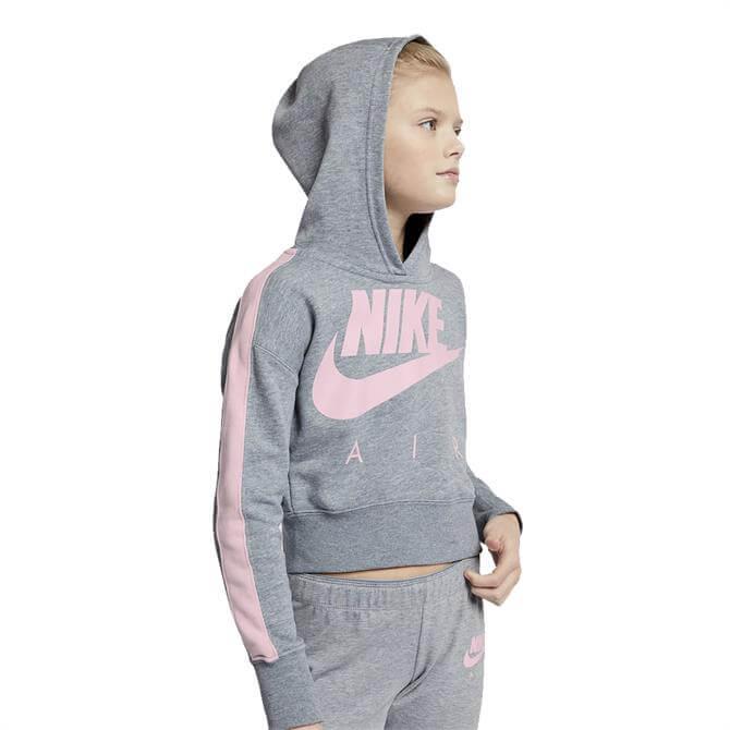Nike Air Girls' Sportswear Cropped Hoodie - Grey/Pink