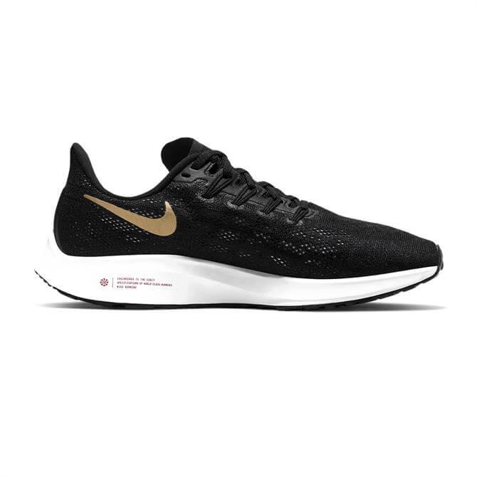 Nike Women's Air Zoom Pegasus 36 Running Shoe - Black/White/Gold
