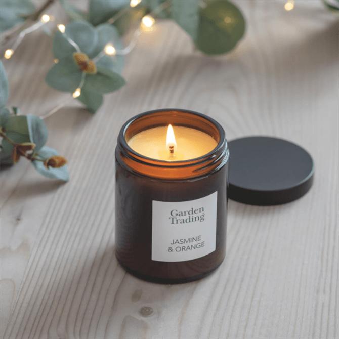 Garden Trading Amber Glass Candle Jasmine & Orange Small