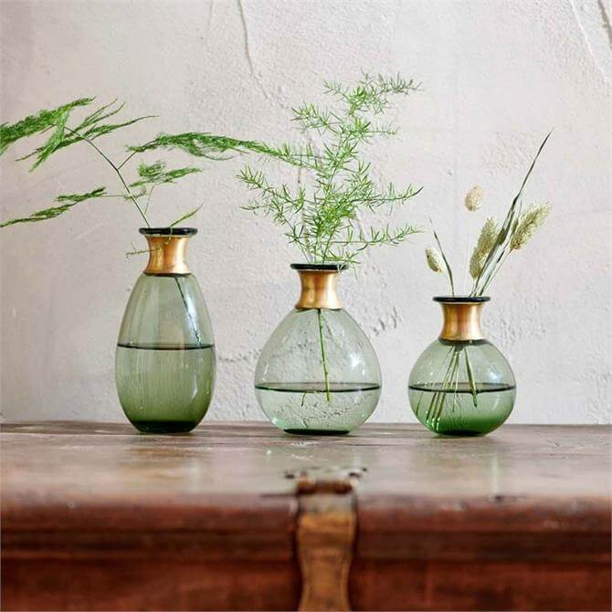 Nkuku Miza Mini Glass Vase Green