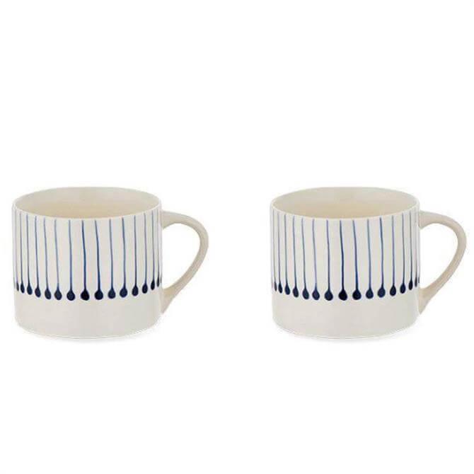 Nkuku Iba Indigo Ceramic Mug Set of 2 - Large