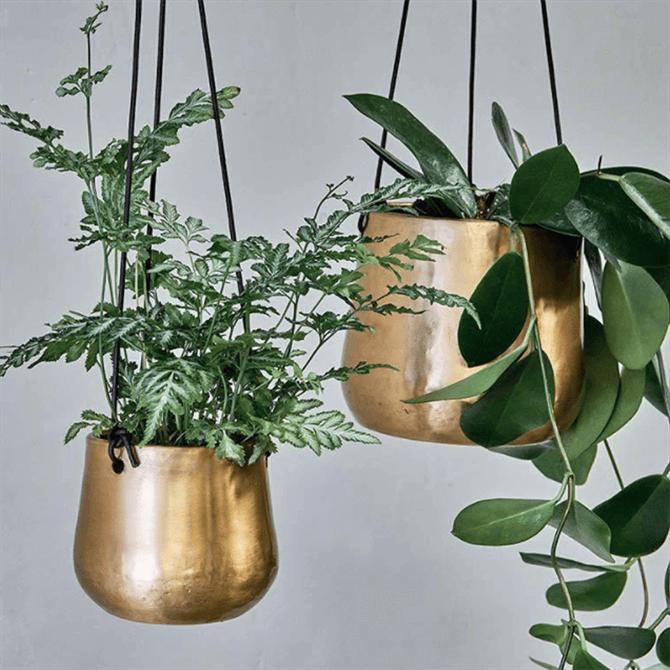 Nkuku Atsu Brass Hanging Planter Small