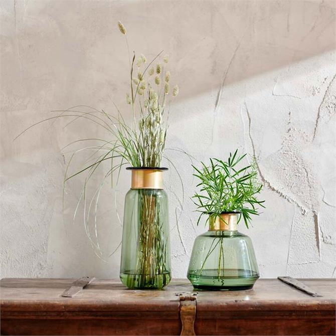 Nkuku Miza Glass Vase Green