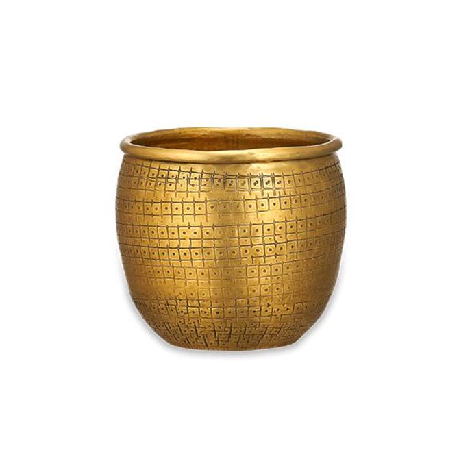 Nkuku Tembesi Etched Planter Antique Brass