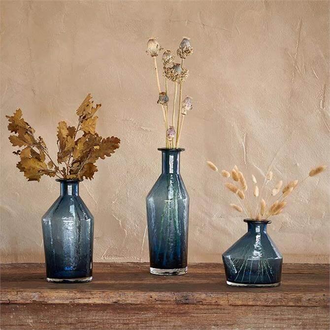 Nkuku Zaani Glass Vase Blue
