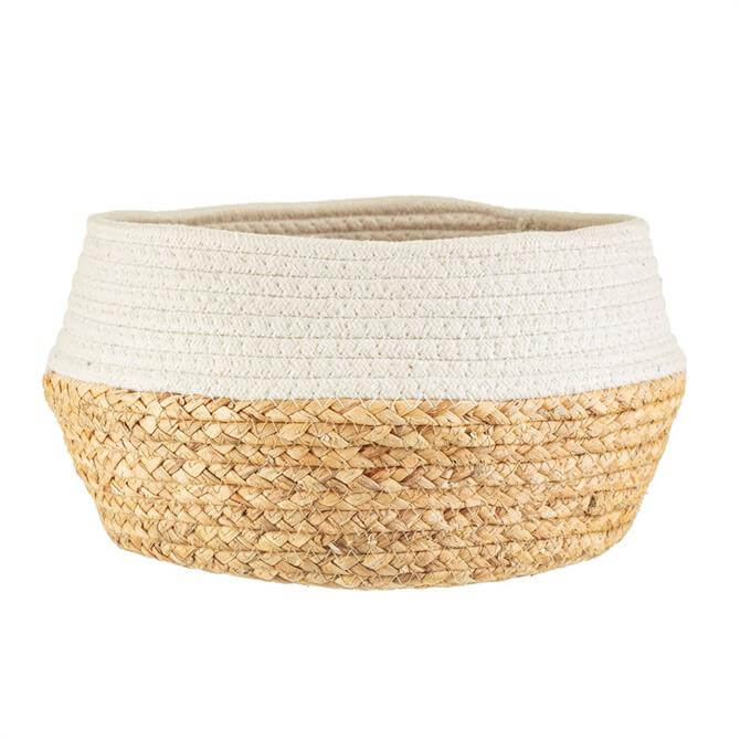 Sass and Belle White Drip Rope Grass Basket
